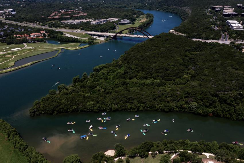 Boaters on Lake Austin on July 4, 2020.