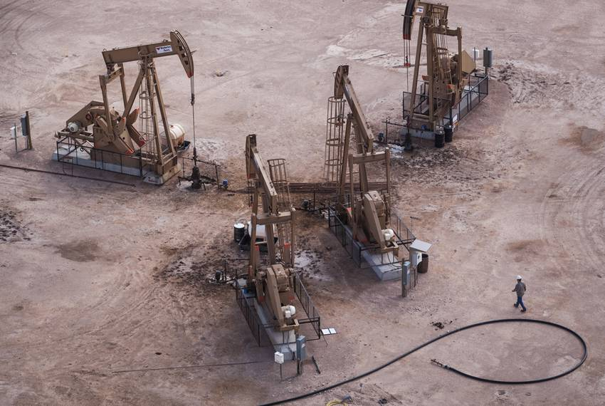 Pump jacks in Reagan County, near the town of Big Lake.