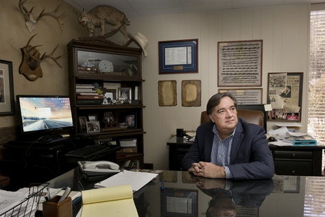 Attorney Jim Dunnam in his office in Waco, Texas on Thursday, October 5, 2017. Dunham is a former state representative who is suing Baylor University on behalf of 11 sexual assault victims. Dunnam was named Young Lawyer of the Year by Baylor University in 2001. He also received his undergraduate business degree and a law degree from Baylor.