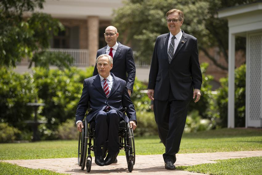 Lt. Gov. Dan Patrick, Gov. Greg Abbott and House Speaker Dennis Bonnen before a press conference at the Governor's Mansion...