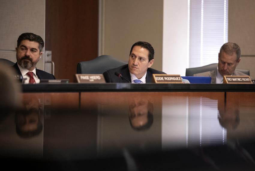 From left: Rep. Eddie Rodriguez, D-Austin; Rep. Trey Martinez-Fischer, D-San Antonio; and Rep. Jim Murphy, R-Houston, listen…