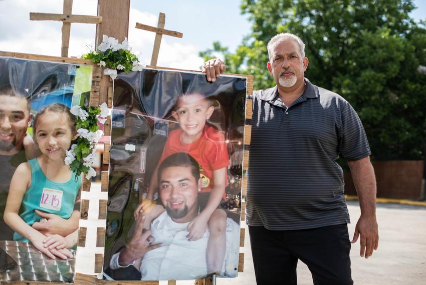 Joaquín Chavez poses for a portrait at the memorial near the scene where his son, Nicolas Chavez, was killed by Houston po...