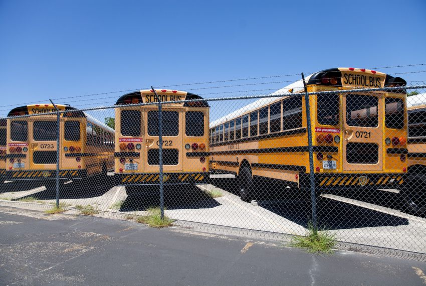 Austin ISD school buses at the terminal near John H. Reagan High School on July 26, 2017.