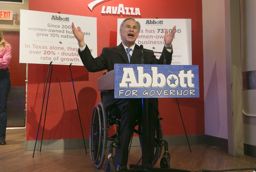 Republican Gubernatorial candidate, Attorney General Greg Abbott, speaks to crowd at Lavazza Coffee House on Congress Avenue…