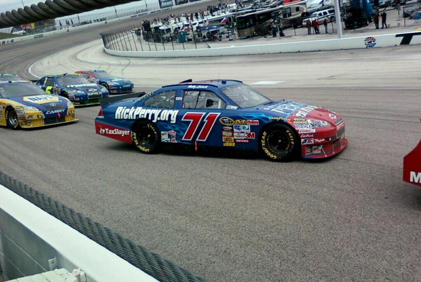 "#71 ""Texans for Rick Perry"" car racing at the Samsung Mobile 500."