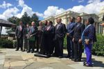 Members of the Texas congressional delegation from both parties hold a press conference to discuss Harvey relief efforts in Washington, D.C. on Sept. 7, 2017.