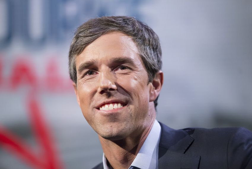 Beto O'Rourke at a town hall meeting in Houston on Tuesday, Oct. 30, 2018.