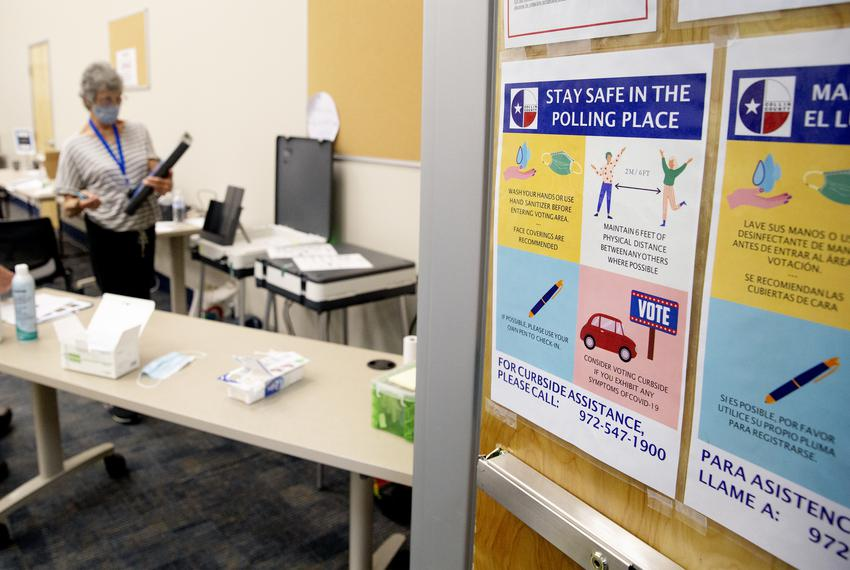 The Collin County Elections Department created a mock polling site to prepare poll workers for early voting beginning June 2…