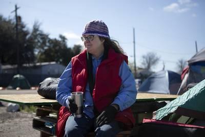 Susan Peake lives at the state-run homeless encampment off U.S. Highway 183 in Austin.
