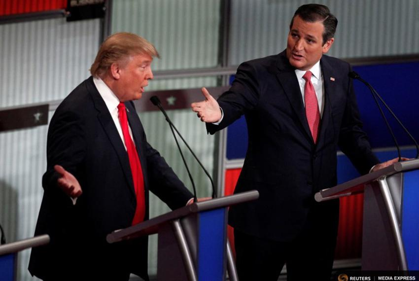 Republican U.S. presidential candidates Donald Trump (left) and Ted Cruz at the Fox Business Network Republican presidential…