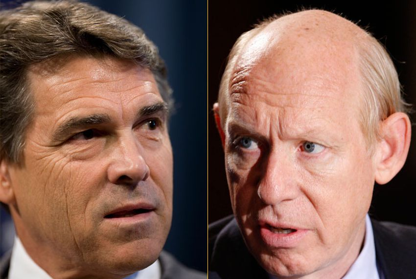 Republican Rick Perry and Democrat Bill White