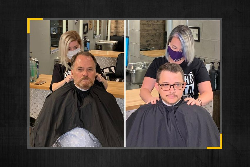 From left, State Representatives Steve Toth, R-The Woodlands, and Briscoe Cain, R-Deer Park, get haircuts in defiance of G...