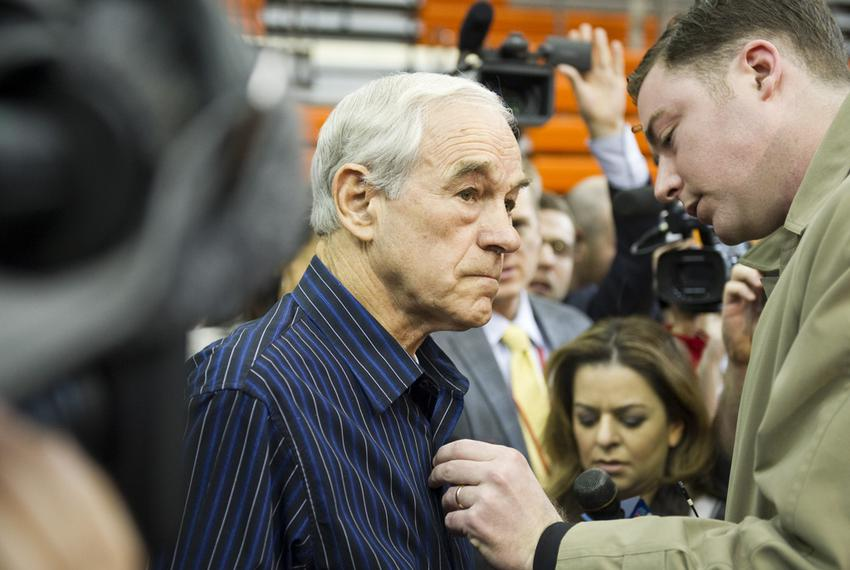 U.S. Rep Ron Paul before going onstage at a Rock the Caucus event at a Des Moines high school on Jan. 3, 2012.