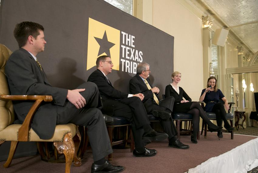 Texas Tribune staffers dissect Tuesday's primary election results at Triblive on March 5, 2014. Left to right are Reeve Ha...