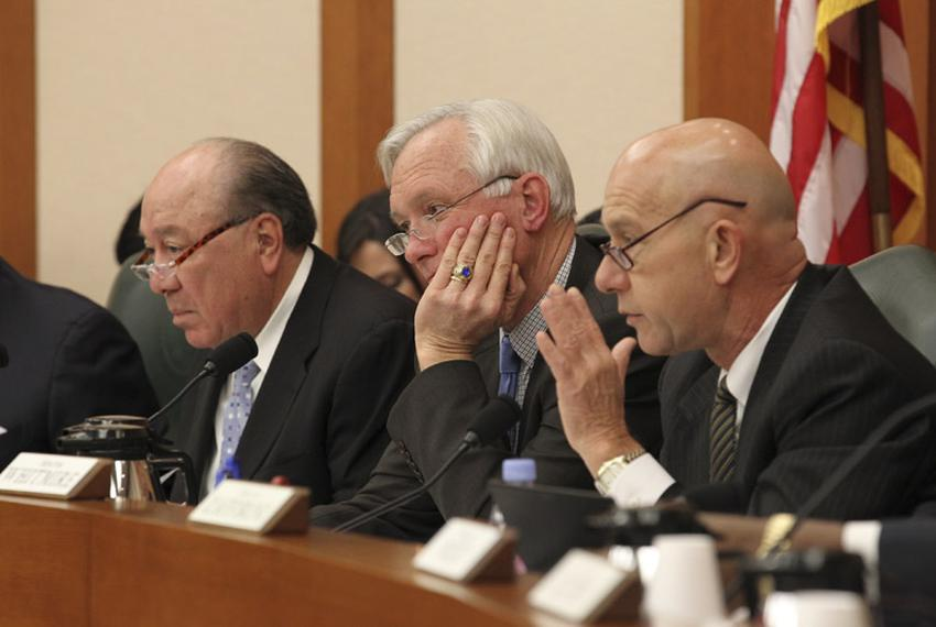 Senators Juan Hinojosa _(D-Mission), Chairman Steve Ogden (R-Bryan) and John Whitmire (D-Houston) listen to testimony in t...