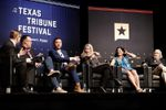 Tribune CEO Evan Smith leads a political roundtable for the closing session of The Texas Tribune Festival on Sunday, Sept. 24, 2017. From left: Smith; Chris Cillizza of CNN; Ben Domenech of The Federalist; Virginia Heffernan of Slate's Trumpcast; Indira Lakshmanan of The Boston Globe and the Poynter Institute; and Charles P. Pierce of Esquire Magazine.