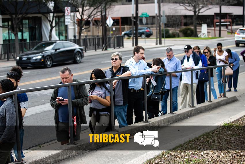 Dallas voters wait to cast their ballots on Super Tuesday during the 2020 primaries on March 3, 2020.