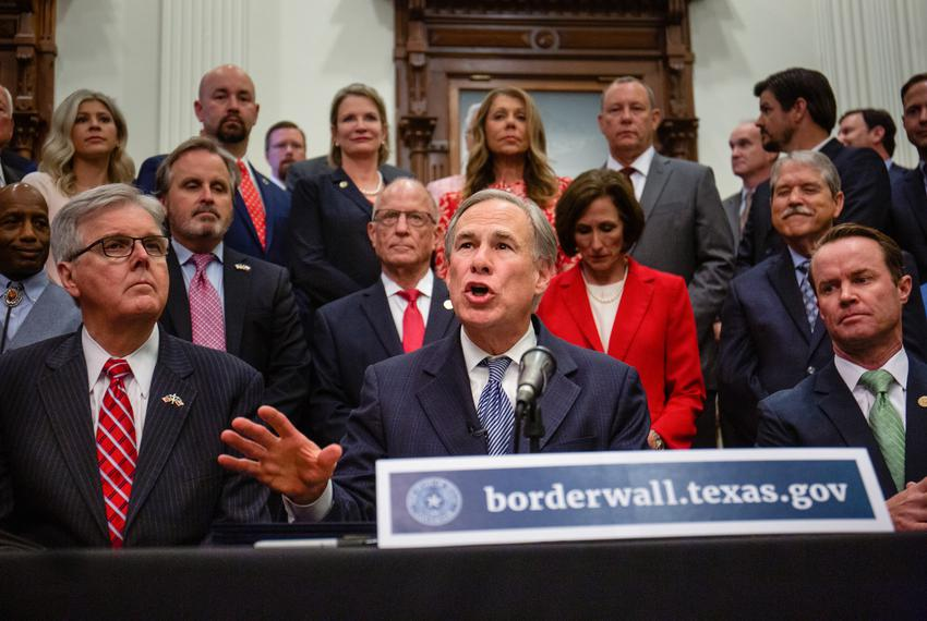 Flanked by Lt. Gov. Dan Patrick and House Speaker Dade Phelan, Gov. Greg Abbott held a press conference at the Capitol on Ju…