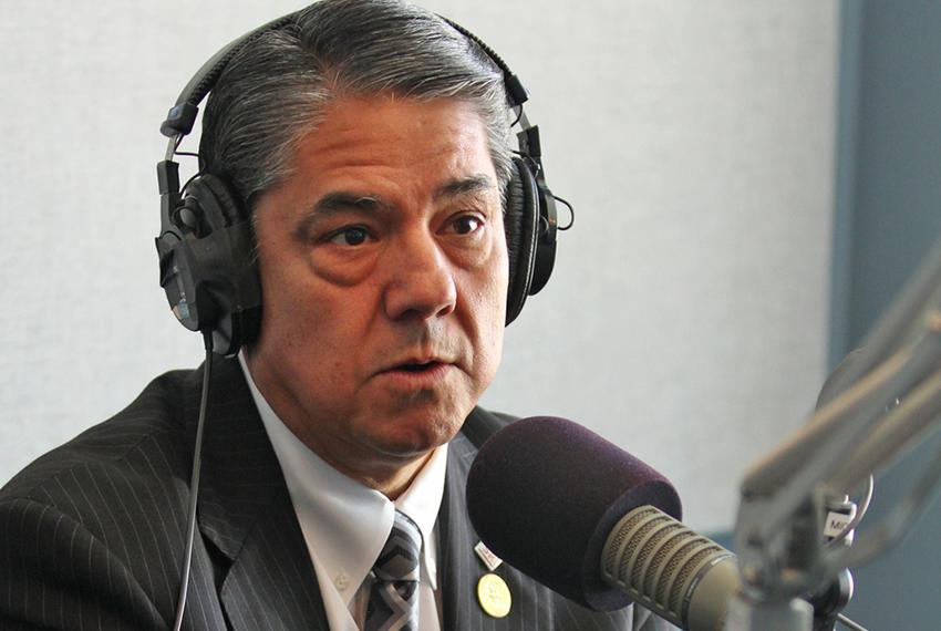 Ricardo Maestas, president of Sul Ross State University, during an interview at Marfa Public Radio in Marfa, TX.