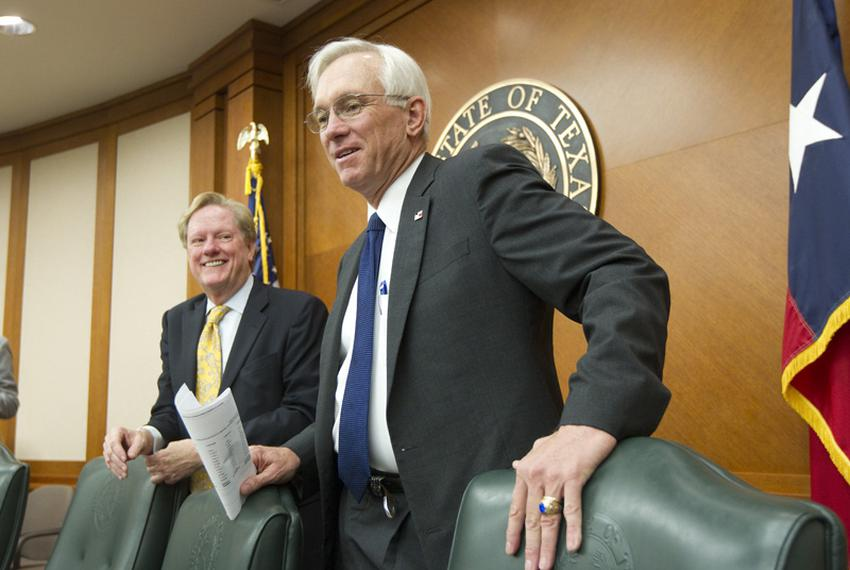 House Appropriations Committee Chairman Jim Pitts (l), R-Waxahachie, and Senate Finance Chaigman Steve Ogden (r), R-Bryan, t…