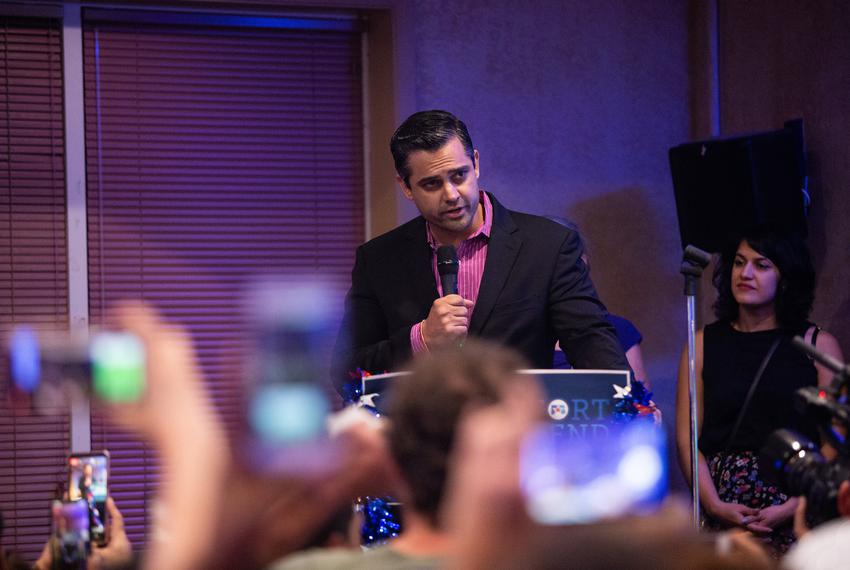 Sri Preston Kulkarni speaks to his supporters  in Sugar Land after losing to Pete Olson in a race for Texas' 22nd Congressio…