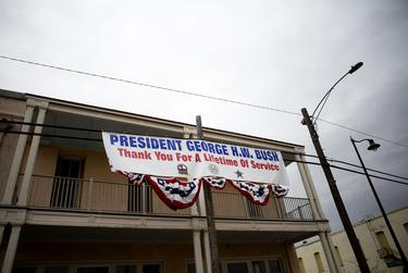 A banner thanking former President George H.W. Bush hung near downtown Navasota. The funeral train carrying the president's remains passed through town on its way to College Station Thursday afternoon.