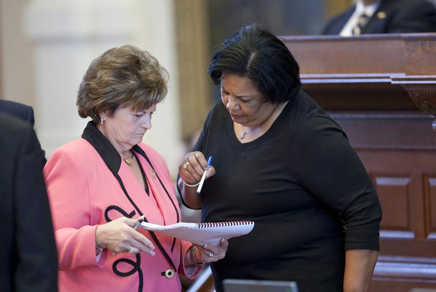 State Rep. Linda Harper-Brown (l), R-Irving, discusses TXDOT sunset legislation with State Rep. Yvonne Davis, D-Dallas, at t…