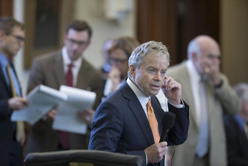State Sen. Don Huffines, D-Dallas, lays out Senate Bill 15 on July 26, 2017. The measure would preempt dozens of local ordi…