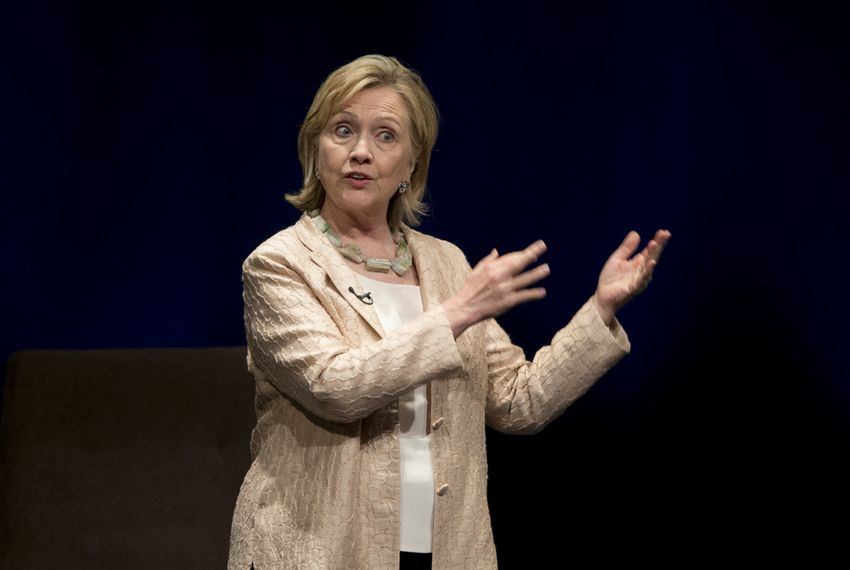 Hillary Clinton speaking in Austin on June 20, 2014.