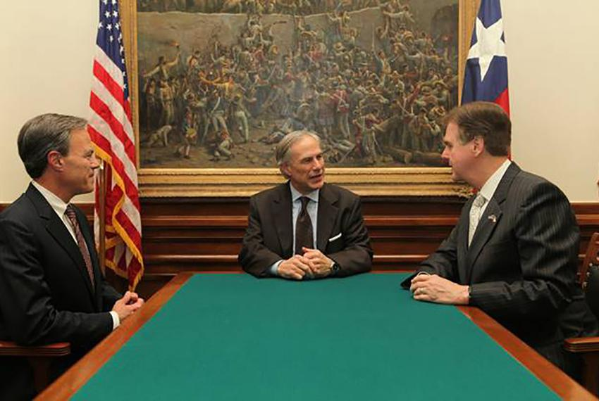 From left: Texas House Speaker Joe Straus, Gov. Greg Abbott and Lt. Gov. Dan Patrick are shown on May 21, 2015.