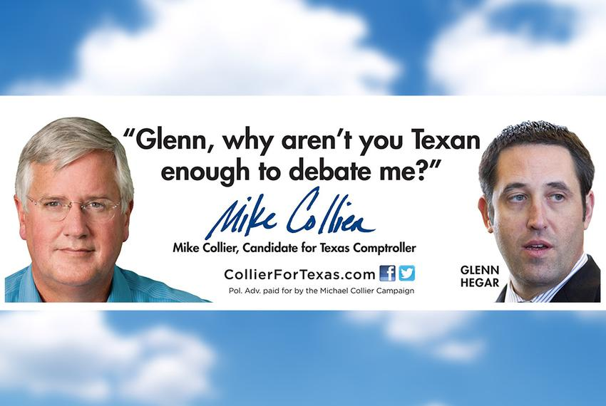 A billboard Democratic candidate for comptroller Mike Collier plans to put up in the hometown of his Republican opponent, st…
