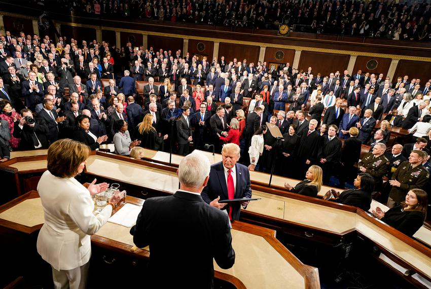 President Donald Trump during his State of the Union Address in the House Chamber of the Capitol, in Washington D.C. on Tu...