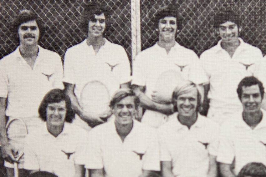 Jeb Bush, back left, on the University of Texas varsity tennis team as a junior in 1973. The team photo appeared in the 1973 Cactus Yearbook.