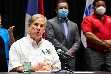 Gov. Greg Abbott holds a press conference after talking to local and county officials about the damage done by Hurricane Hanna in Nueces and Kleberg Counties, on Tuesday, July 28, 2020.