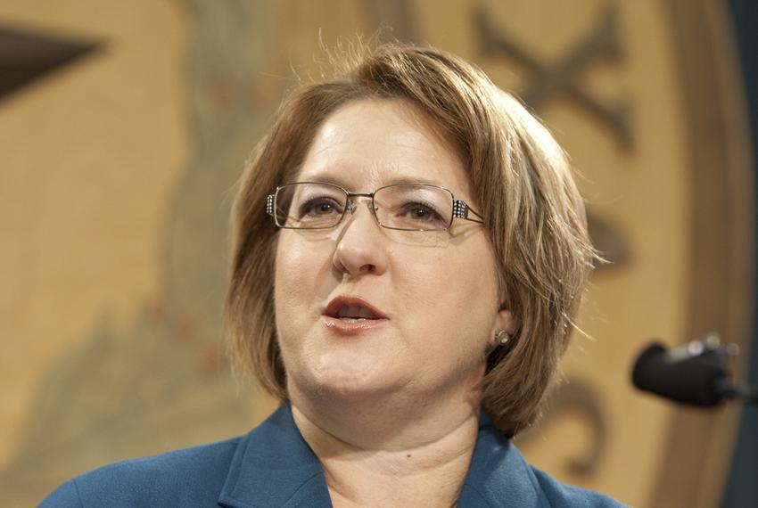 Former gubernatorial candidate Debra Medina on Sept. 22, 2011, at a press conference on cronyism in Texas politics