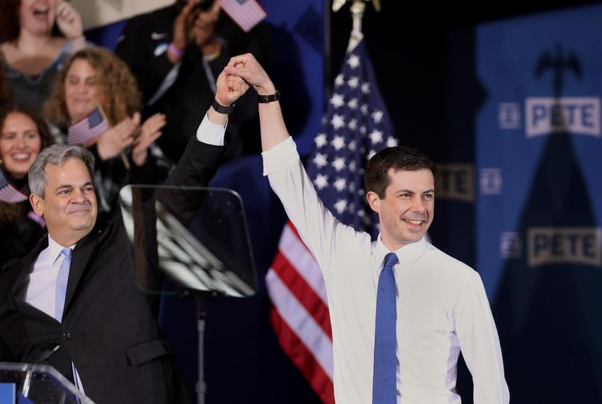South Bend's Mayor Pete Buttigieg appears with Austin Mayor Steve Adler during a rally to announce Buttigieg's 2020 Democrat…