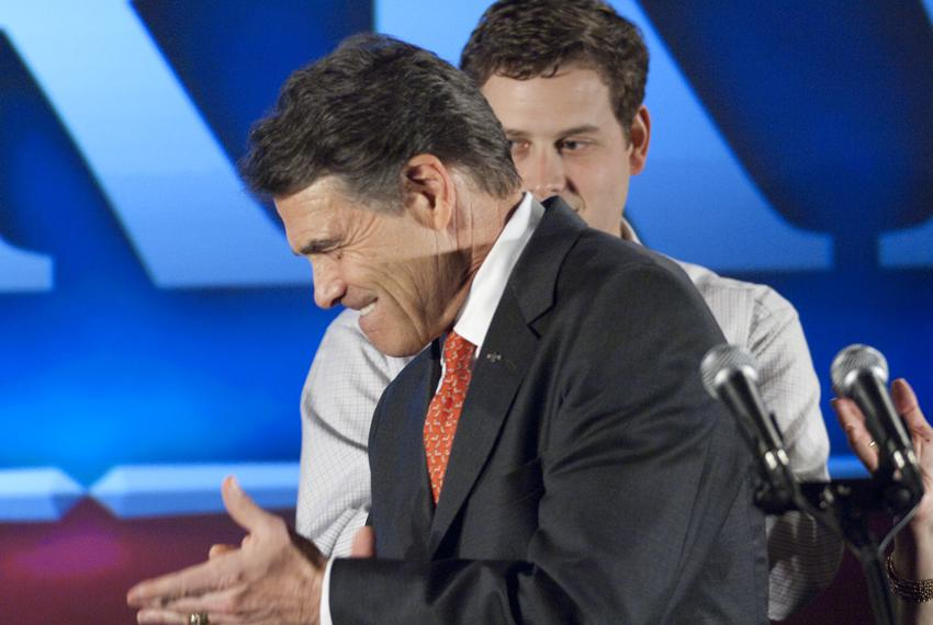 Gov. Rick Perry leaving the stage in West Des Moines, Iowa, on Jan. 3, 2012.