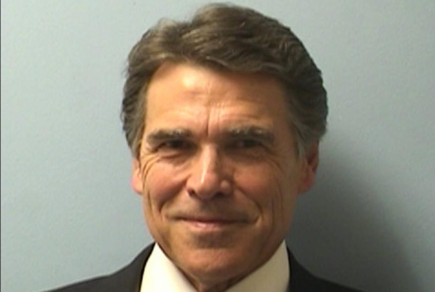 Mugshot of Governor Rick Perry, booked on two felony counts at the Blackwell-Thurman Criminal Justice Center in Austin, Texa…