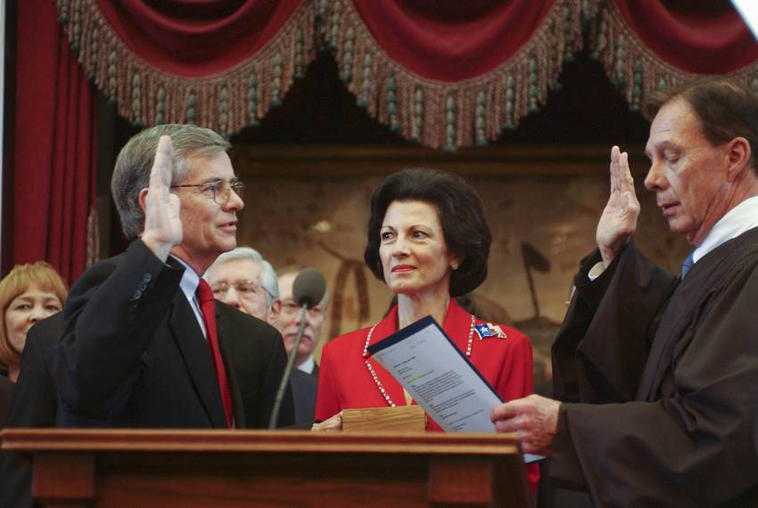 On Jan. 15, 2003, state Rep. Tom Craddick, R-Midland, was sworn in as speaker of the Texas House by Judge (and former state Rep.) James Nowlin while his wife Nadine looked on.