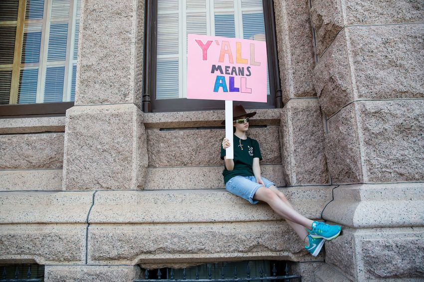 """Members of various faith communities met at the Texas Capitol on Aug. 1 to speak out against the """"bathroom bill."""""""