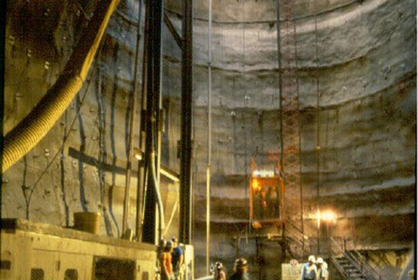In 1997, workers construct the San Antonio River Tunnel, which diverts floodwaters beneath the city.