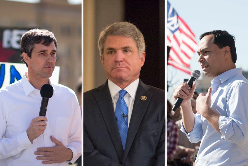 (L-R) U.S. Reps. Beto O'Rourke, R-El Paso, Michael McCaul, R-Austin, and Joaquin Castro, D-San Antonio.
