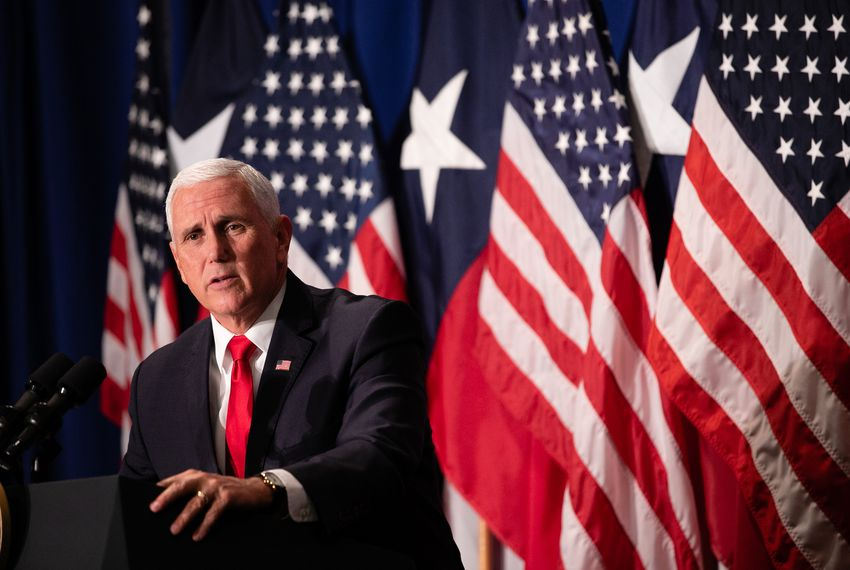 Vice President Mike Pence spoke to a crowd of supporters in October during a campaign event for former U.S. Rep. Pete Sessions' re-election bid.