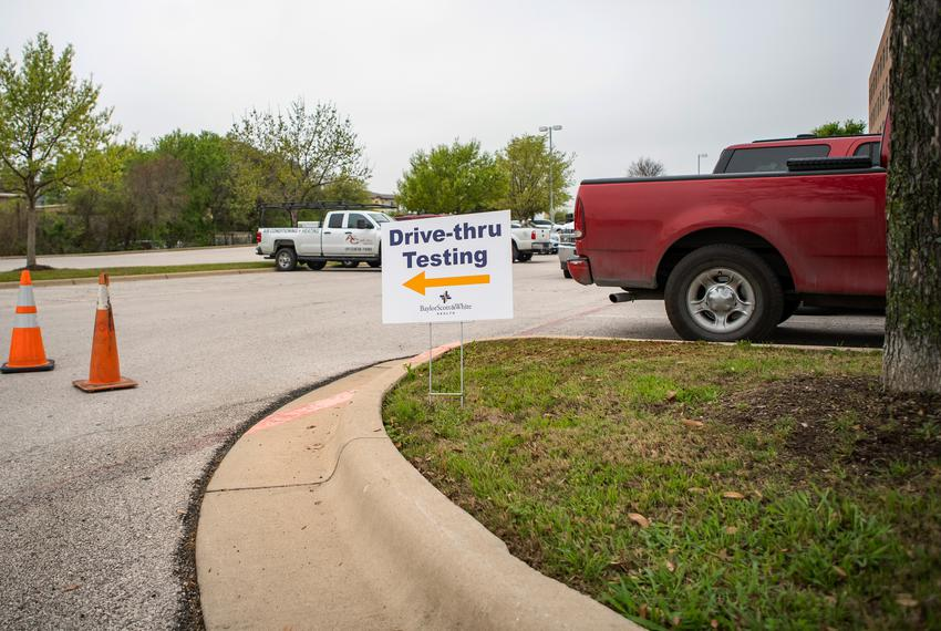 A drive-thru COVID-19 testing facility at Baylor Scott and White Medical Center in Round Rock.