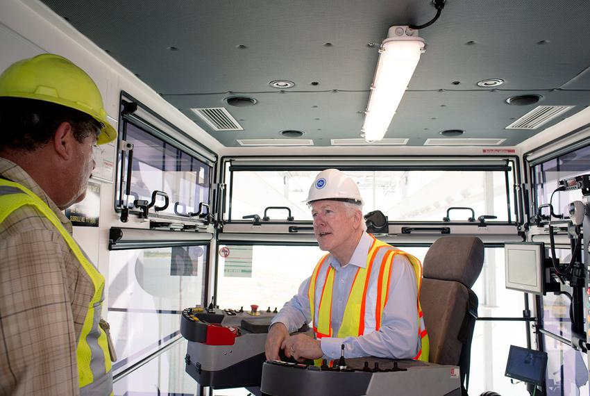U.S. Sen. John Cornyn, R-Texas, operating a crane at the Port of Houston Authority on November 1, 2016. The port is ranked f…