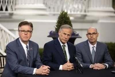 Gov. Greg Abbott (left), Lt. Gov. Dan Patrick and House Speaker Dennis Bonnen.