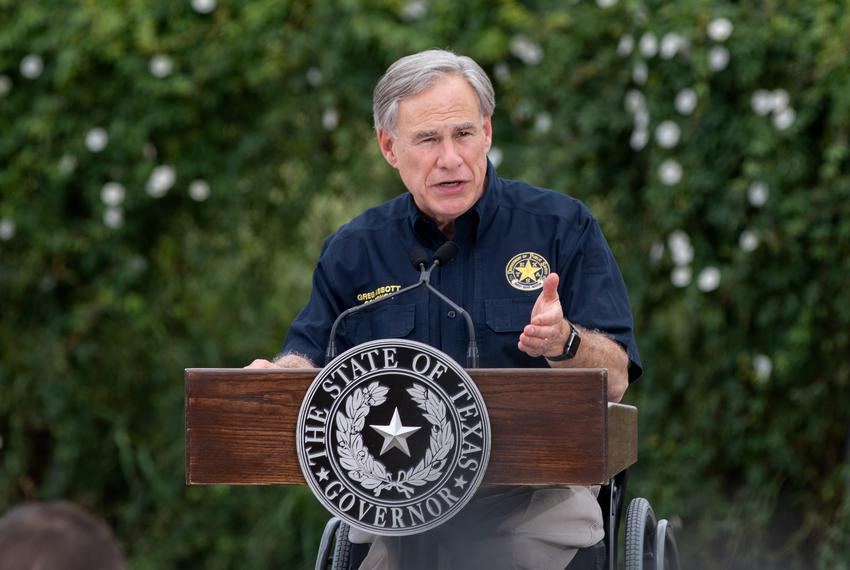 Gov. Greg Abbott speaks about the surge in immigration in 2021 at a border wall tour accompanied by former President Donald …