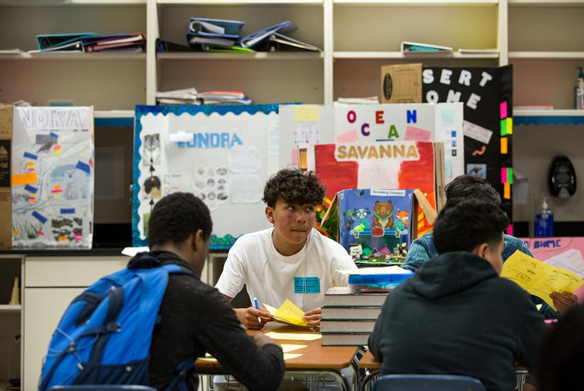 Daniel Saldana, 9th grade student at Elsik High school, looks up during a quiz about biomolecules during an afternoon interv…