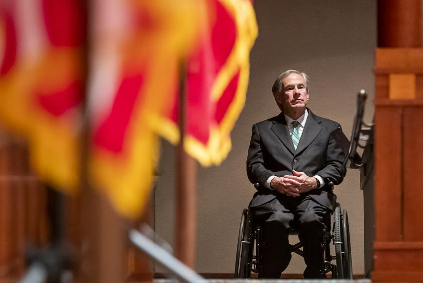 Gov. Greg Abbott waits backstage before holding a press conference on the COVID-19 pandemic in Texas on May 5, 2020.