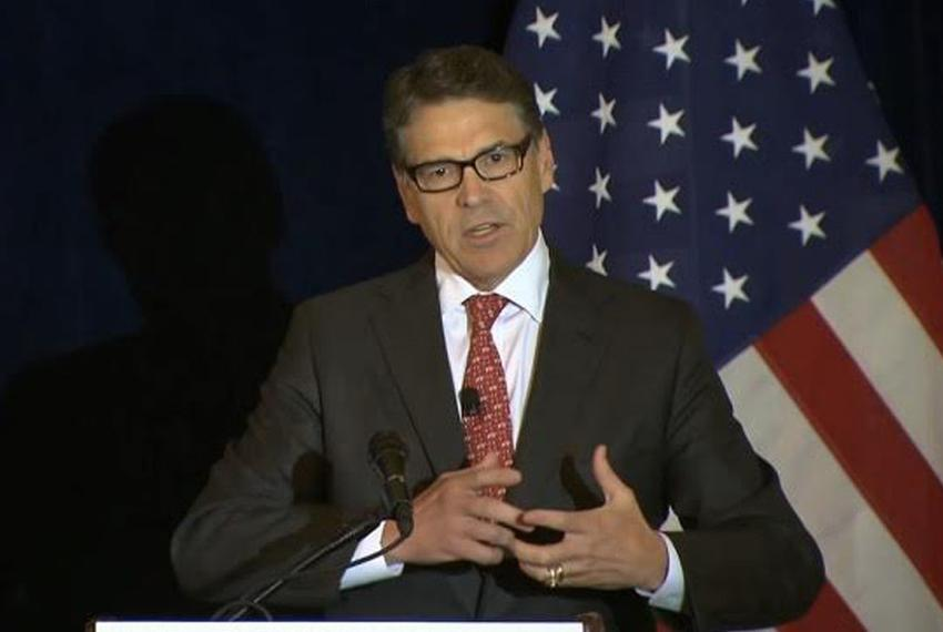 Former Gov. Rick Perry on Wednesday delivered a speech on Wall Street reform in New York. The Republican presidential cand...